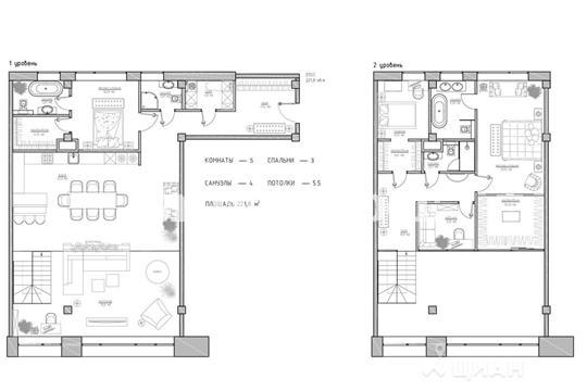 Квартира свободной планировки, 221.8 м<sup>2</sup>, 6 этаж