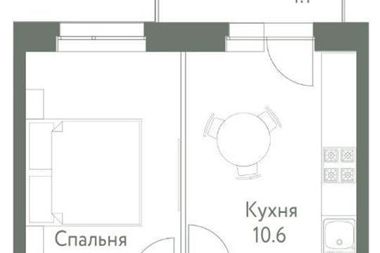 1-комнатная квартира, 31.6 м<sup>2</sup>, 6 этаж