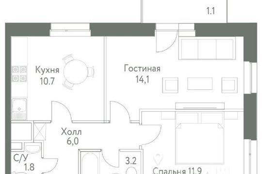 2-комнатная квартира, 49.3 м<sup>2</sup>, 6 этаж
