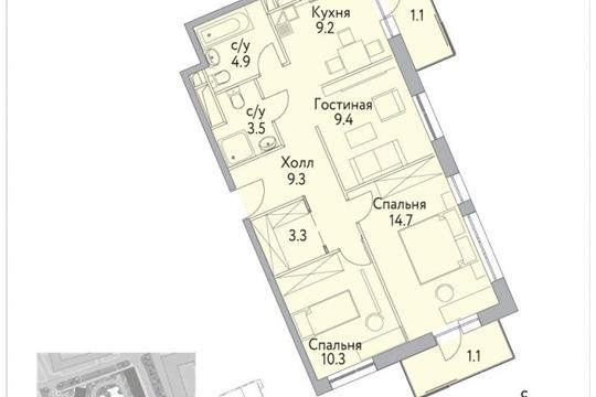 3-комнатная квартира, 68.1 м<sup>2</sup>, 17 этаж