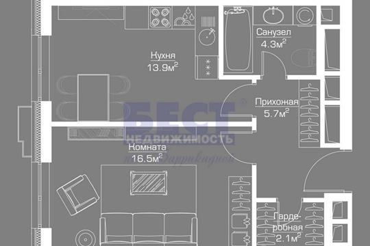 Квартира свободной планировки, 45 м<sup>2</sup>, 43 этаж
