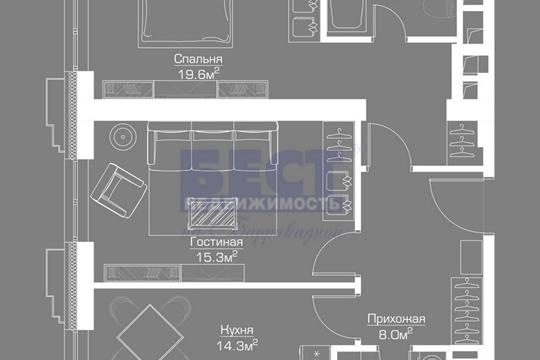 2-комнатная квартира, 69 м<sup>2</sup>, 35 этаж