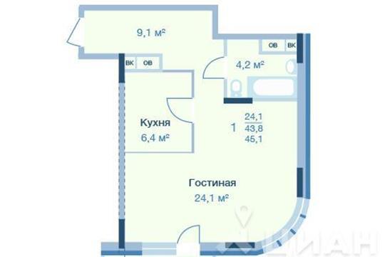 1-комнатная квартира, 45.1 м<sup>2</sup>, 9 этаж