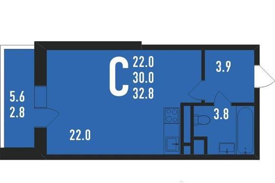 Студия, 33 м<sup>2</sup>, 7 этаж