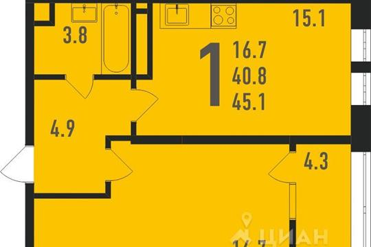 1-комнатная квартира, 46 м<sup>2</sup>, 2 этаж