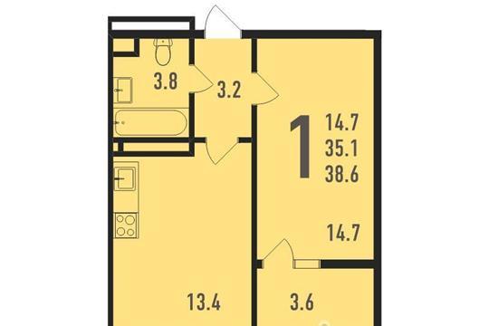 1-комнатная квартира, 39 м<sup>2</sup>, 8 этаж