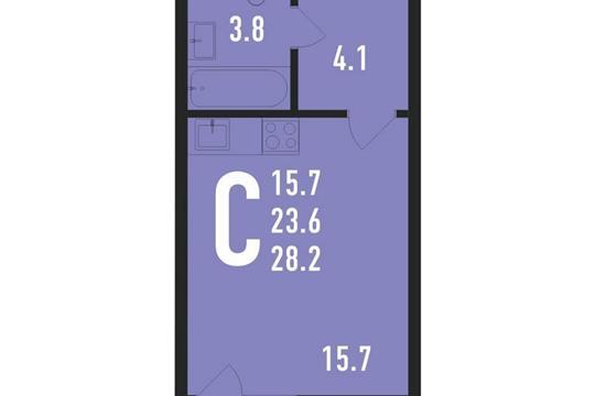 Студия, 29 м<sup>2</sup>, 7 этаж