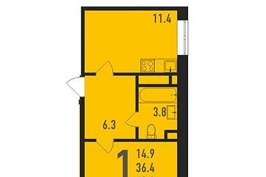 1-комнатная квартира, 42 м<sup>2</sup>, 15 этаж