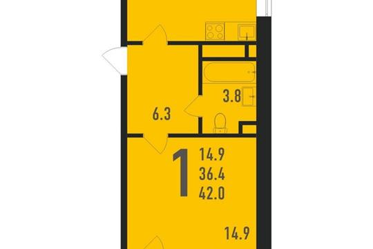 1-комнатная квартира, 43 м<sup>2</sup>, 5 этаж