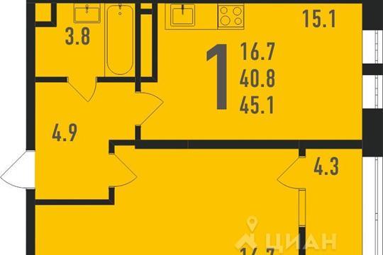 1-комнатная квартира, 46 м<sup>2</sup>, 11 этаж