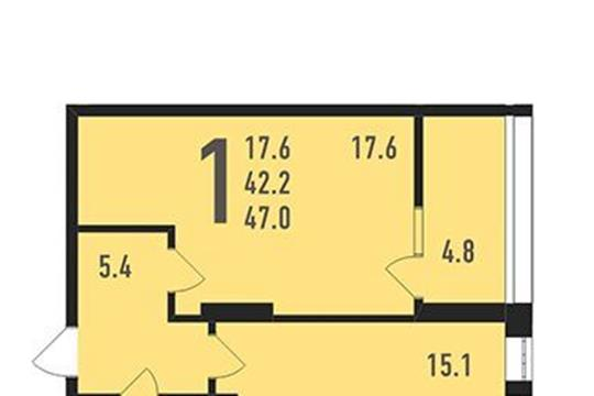 1-комнатная квартира, 47 м<sup>2</sup>, 15 этаж
