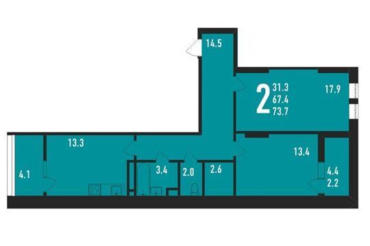 2-комнатная квартира, 74 м<sup>2</sup>, 9 этаж