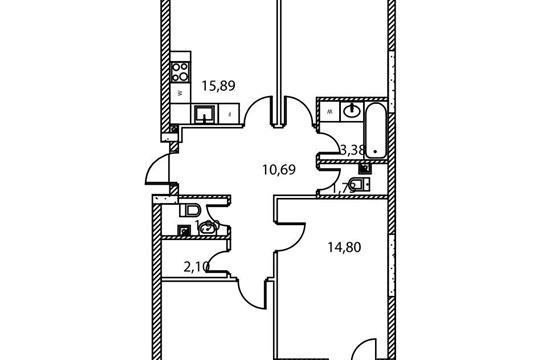 3-комнатная квартира, 81.29 м<sup>2</sup>, 2 этаж