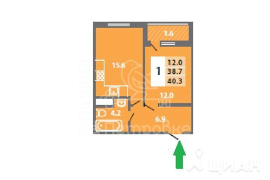 1-комнатная квартира, 40.2 м<sup>2</sup>, 10 этаж