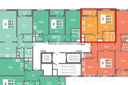1-комнатная квартира, 36.9 м<sup>2</sup>, 3 этаж