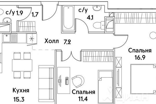 2-комнатная квартира, 58.7 м<sup>2</sup>, 10 этаж