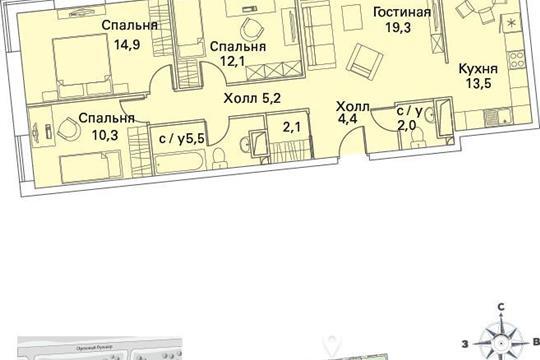 4-комнатная квартира, 90.6 м<sup>2</sup>, 17 этаж