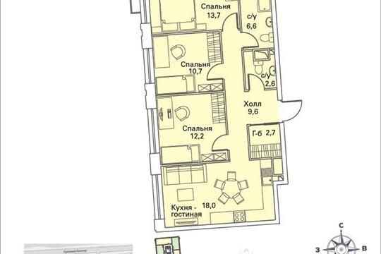 3-комнатная квартира, 77.7 м<sup>2</sup>, 8 этаж