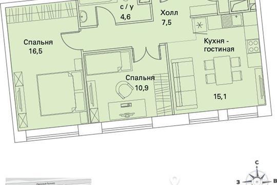 2-комнатная квартира, 59.4 м<sup>2</sup>, 7 этаж