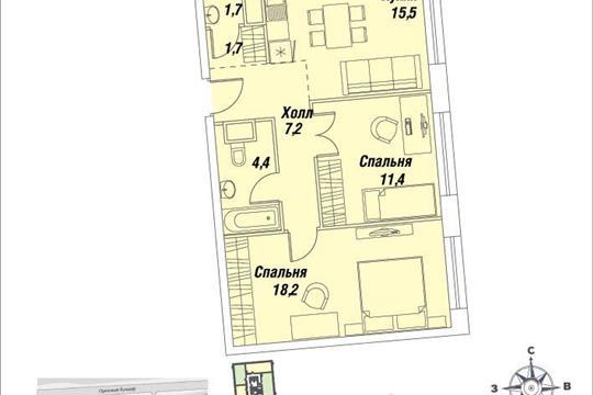2-комнатная квартира, 60.1 м<sup>2</sup>, 29 этаж