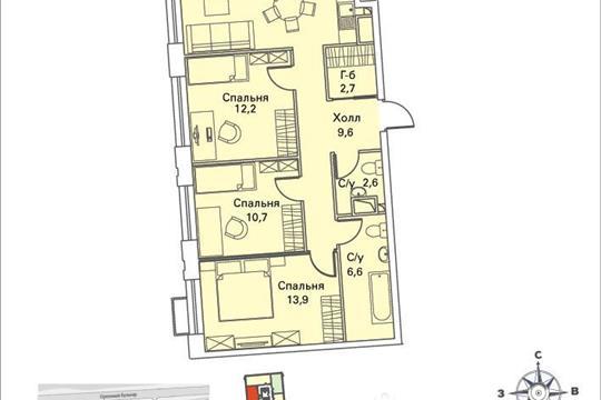 3-комнатная квартира, 77.2 м<sup>2</sup>, 12 этаж
