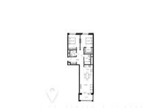 2-комнатная квартира, 82.2 м<sup>2</sup>, 20 этаж