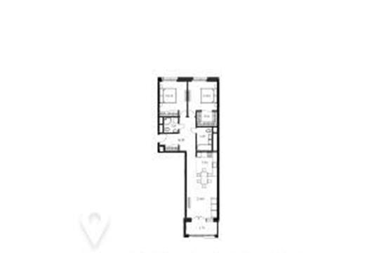 2-комнатная квартира, 82.2 м<sup>2</sup>, 21 этаж