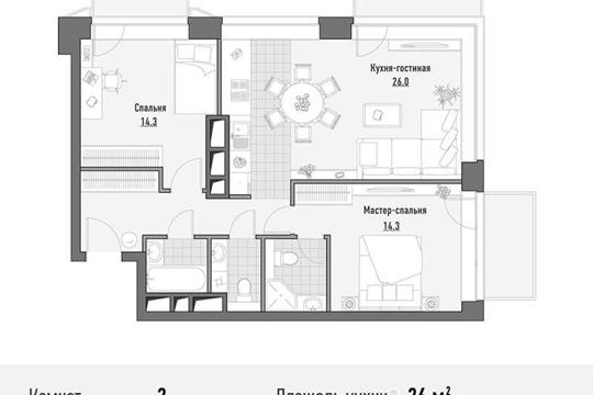 2-комнатная квартира, 76.13 м<sup>2</sup>, 13 этаж