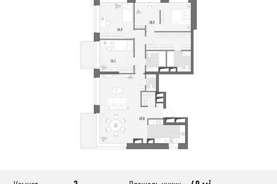 3-комнатная квартира, 129.88 м<sup>2</sup>, 18 этаж