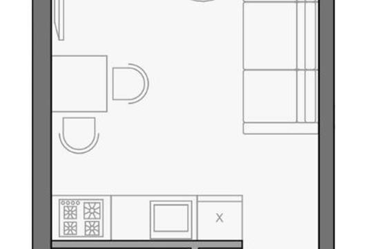 1-комнатная квартира, 26.9 м<sup>2</sup>, 2 этаж