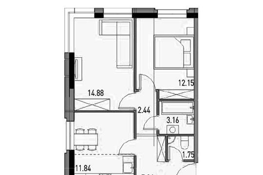 2-комнатная квартира, 51 м<sup>2</sup>, 4 этаж