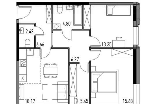 3-комнатная квартира, 70 м<sup>2</sup>, 12 этаж