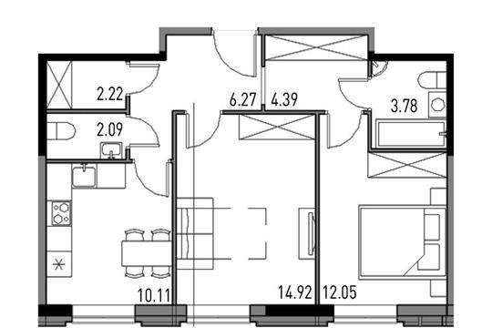 3-комнатная квартира, 66.8 м<sup>2</sup>, 2 этаж