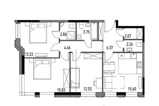 3-комнатная квартира, 78.3 м<sup>2</sup>, 11 этаж