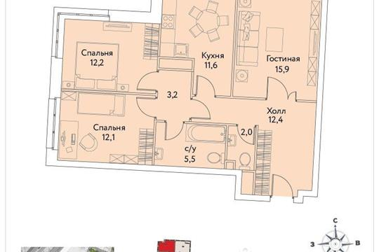 3-комнатная квартира, 75.6 м<sup>2</sup>, 24 этаж