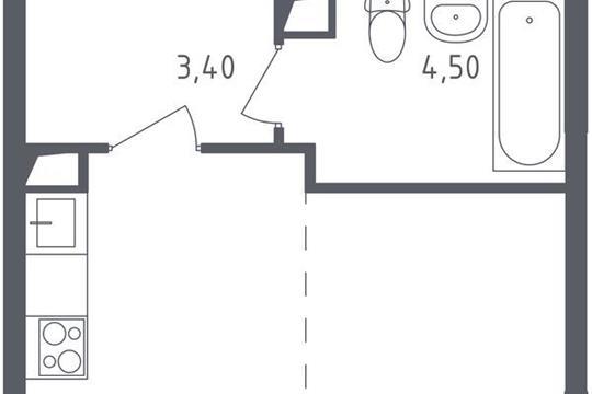 1-комнатная квартира, 25.1 м<sup>2</sup>, 2 этаж