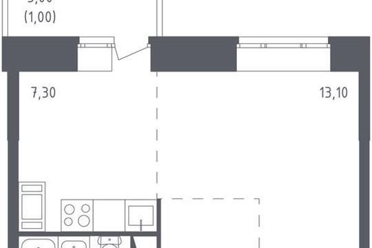 1-комнатная квартира, 30.4 м<sup>2</sup>, 10 этаж