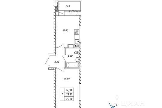 1-комнатная квартира, 34.9 м<sup>2</sup>, 14 этаж