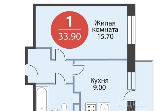 1-комнатная квартира, 33.9 м<sup>2</sup>, 14 этаж