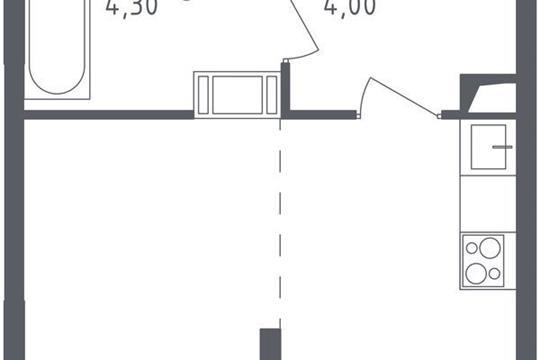 1-комнатная квартира, 27.25 м<sup>2</sup>, 14 этаж