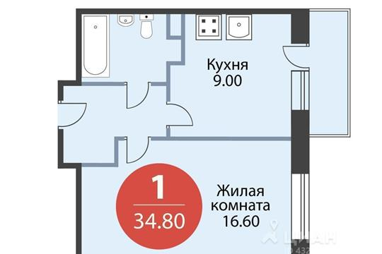 1-комнатная квартира, 34.8 м<sup>2</sup>, 14 этаж
