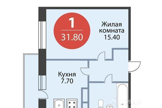 1-комнатная квартира, 31.8 м<sup>2</sup>, 15 этаж