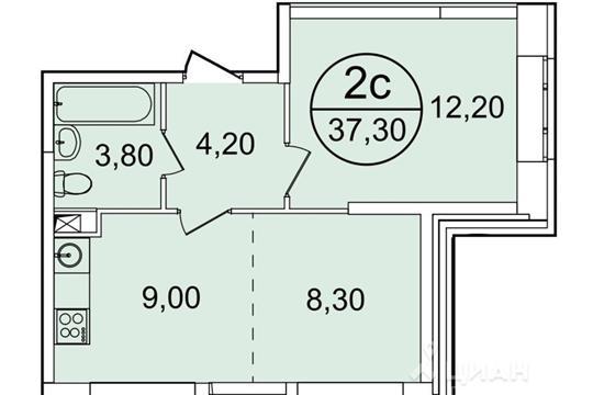 1-комнатная квартира, 37.3 м<sup>2</sup>, 14 этаж