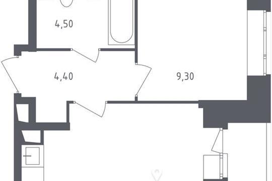 1-комнатная квартира, 33.7 м<sup>2</sup>, 2 этаж