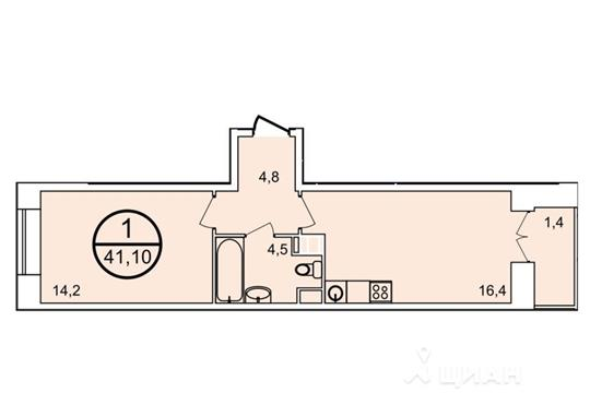 1-комнатная квартира, 41.3 м<sup>2</sup>, 16 этаж