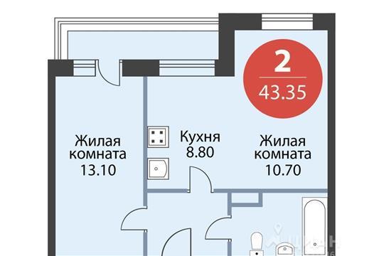 2-комнатная квартира, 43.35 м<sup>2</sup>, 14 этаж