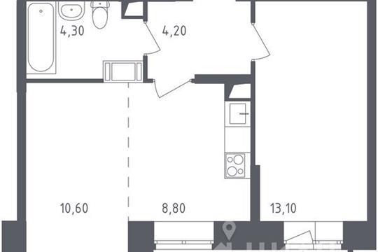 2-комнатная квартира, 43.4 м<sup>2</sup>, 10 этаж
