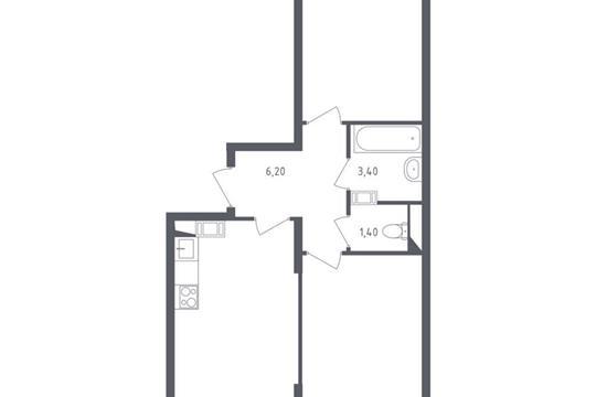 2-комнатная квартира, 56.45 м<sup>2</sup>, 14 этаж