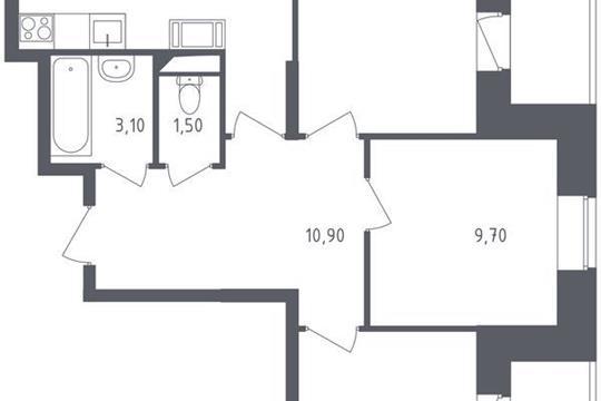 3-комнатная квартира, 77.15 м<sup>2</sup>, 16 этаж