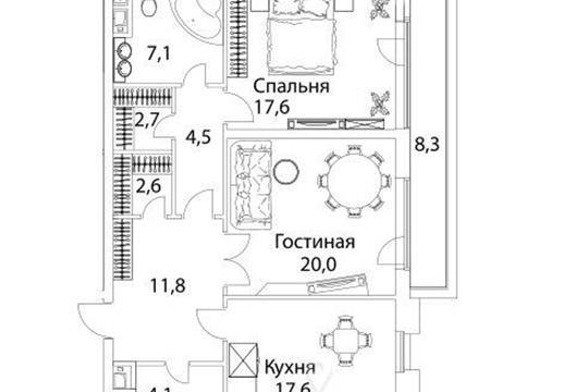 2-комнатная квартира, 92.6 м<sup>2</sup>, 8 этаж